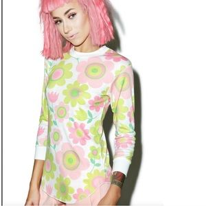 wildfox mod print floral girlfriend thermal S